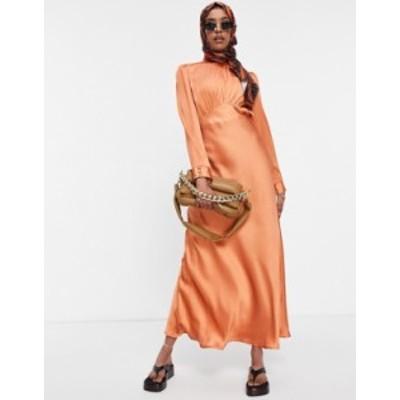 エイソス レディース ワンピース トップス ASOS DESIGN high neck maxi satin tea dress in rust Rust