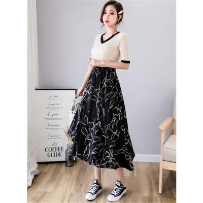 活気に満ちた少女 韓国ファッション 中・長セクション シフォン イレギュラー フリル ロングスカート