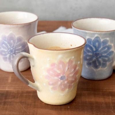 マグカップ 淡彩花 手描き一珍和食器 マグ コーヒーマグ コップ カップ 花柄 フラワー 手書き 手造り 食器 器 うつわ 和風 パステルカラー かわいい カフェ