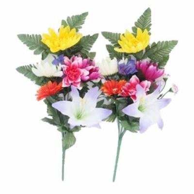 ●送料無料 造花 お墓向け盆花 2本セット フォルダー無し [ fp-0340h ] 95044