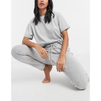 エイソス レディース カジュアルパンツ ボトムス ASOS DESIGN mix & match lounge super soft rib jogger in gray marl Grey