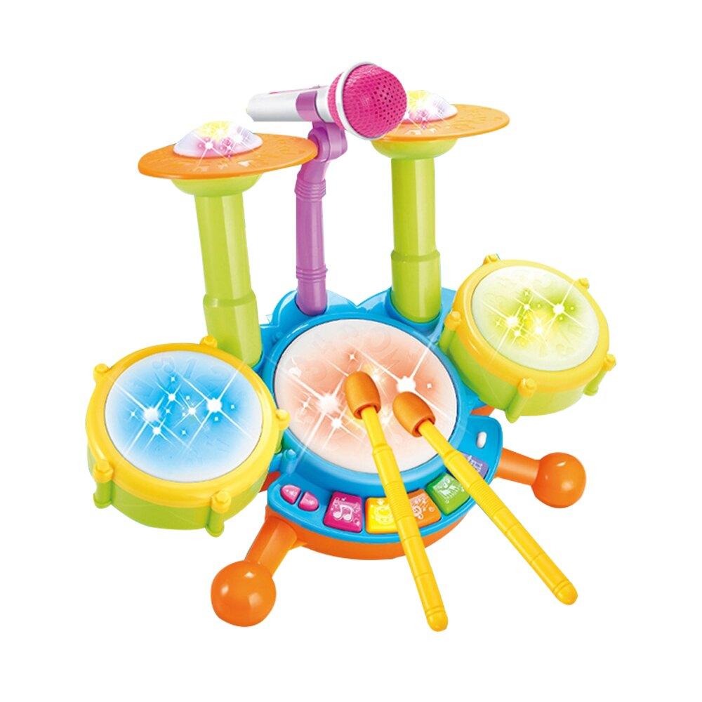 【滿額領卷折50】兒童音樂鼓 電動燈光玩具爵士鼓 寶寶早教益智架子鼓