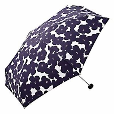 ワールドパーティー(Wpc.) 雨傘 折りたたみ傘  ネイビー  50cm  レディース ジッパーケースタイプ ハナプリント ミニ 762-127 N