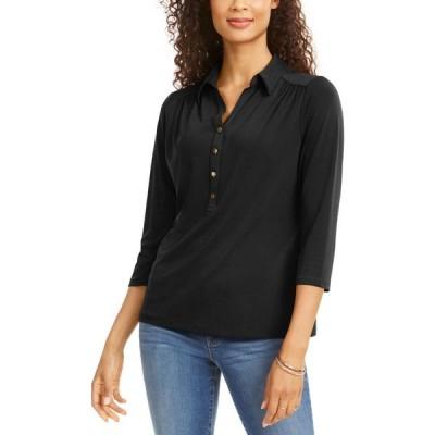 チャータークラブ Charter Club レディース ポロシャツ トップス Knit Polo Shirt Deep Black
