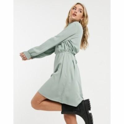 ヴィラ Vila レディース ワンピース ミニ丈 ワンピース・ドレス Tie Waist Mini Dress In Green Stripe グリーン ミリュー