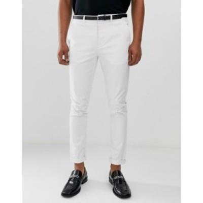 エイソス メンズ カジュアルパンツ ボトムス ASOS DESIGN skinny chinos in white White