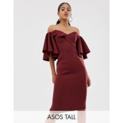 エイソス レディース ワンピース トップス ASOS DESIGN Tall cape flutter bardot midi dress Plum