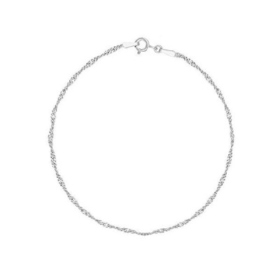 "Ritastephens Sterling Silver 1.7mm Shiny Singapore Sparkle Ankle Bracelet Chain Anklet, 10"""