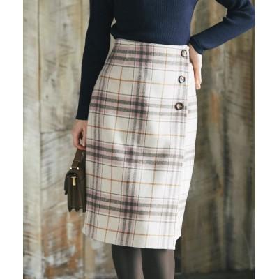 【トッコクローゼット】 ボタン付きチェックラップタイトスカート レディース PINK M tocco closet