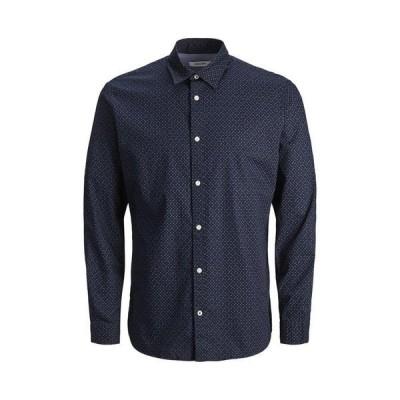 ジャック アンド ジョーンズ メンズ シャツ トップス Plain Poplin Long Sleeve Shirt NAVY BLAZERSLIM