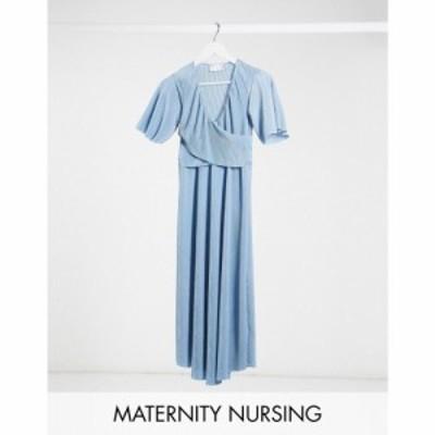 エイソス ASOS Maternity レディース ワンピース ASOS DESIGN Maternity Nursing plisse batwing wrap midi dress with self tie belt in