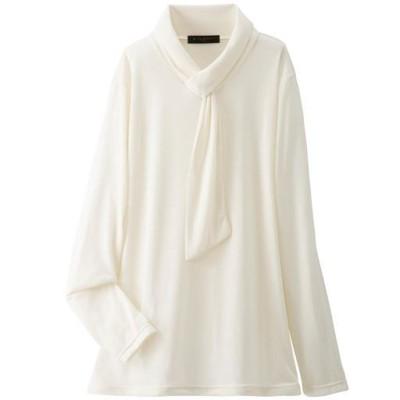 衿デザインプルオーバー/ボウタイ風デザイン/オフホワイト/L