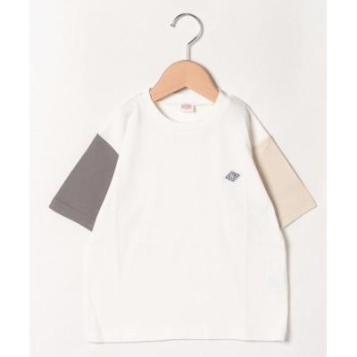 【アンド ルームス】 袖切り替えややビッグTシャツ キッズ オフホワイト 130 &rooms.