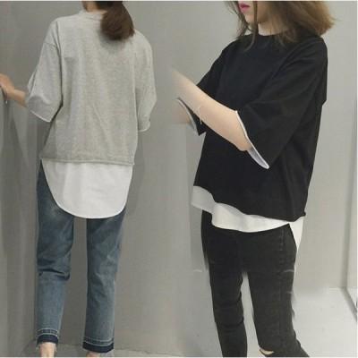 Tシャツ 五分袖 重ね着風 クルーネック トップス カットソー 無地 ゆったり コットン 体型カバー 送料無料