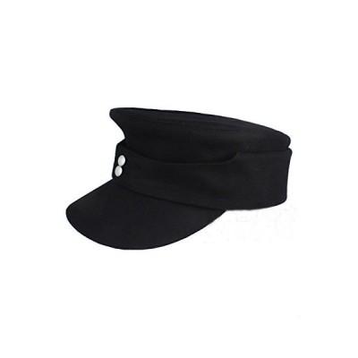 WWII ドイツWH Elite EM M43 パンツァー ウール フィールドキャップ 帽子 ブラック X-Large ブラック