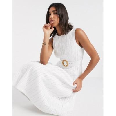 エイソス ミディドレス レディース ASOS DESIGN drop waist textured midi dress with buckle belt in cream エイソス ASOS