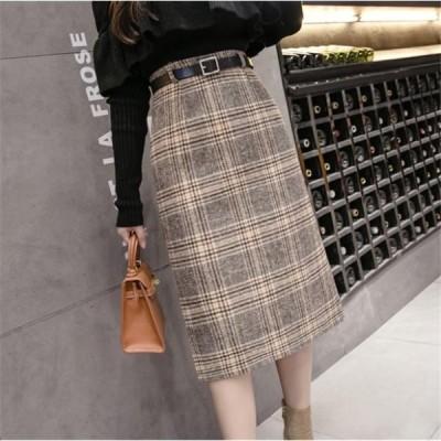 グレンチェック スカート 全2色 ウエストベルト 膝丈 ミディアム丈 ボトムス レディース 秋 冬  送料無料