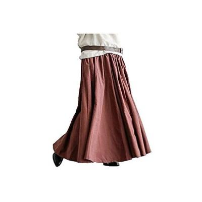 [セカンドルーツ] ふんわり ロングスカート ギャザー マキシ フレア ボリューム スカート 体型カバー ナチュラル ファッション ママ ハハ ロング