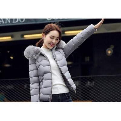 中綿ジャケットレディースアウターコートショート丈冬中綿コートアウターフード付きフェイクファー暖かい無地ショートコートおしゃれ新作