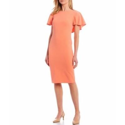 カルバンクライン レディース ワンピース トップス Flutter Cape Sleeve V-Back Sheath Dress Peach