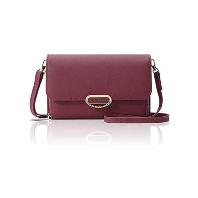 [RUDAN] お財布ポシェット レディース 斜めがけ お財布ショルダー 財布 カード収納 バッグ (ワインレッド)