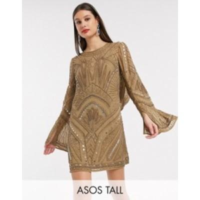 エイソス レディース ワンピース トップス ASOS DESIGN Tall shift super mini dress with cowl back and armour embellishment Khaki