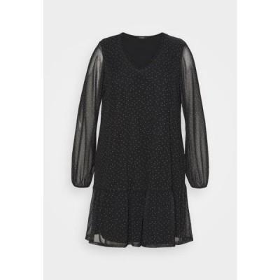 エヴァンス レディース ファッション BLACK SPOT TIERED DRESS - Day dress - black