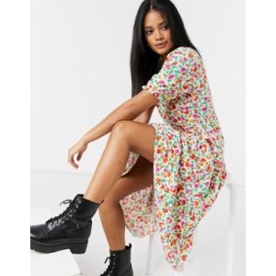 ニュールック レディース ワンピース トップス New Look smock midi dress in bold floral print White