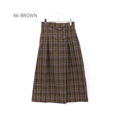 【アールエムストア】 TR先染めチェック 前ボタンセミタイトスカート レディース ブラウン M RM STORE