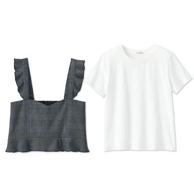 ビスチェ&Tシャツ/チェック/M