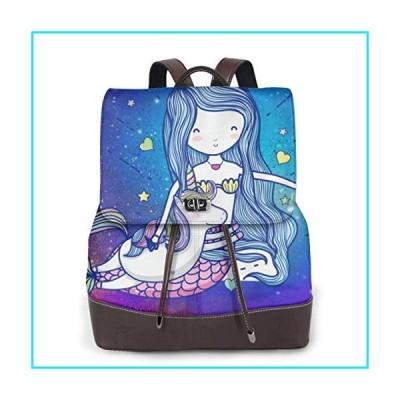 Galaxy Mermaid Princess Unicorn Women Genuine Leather Backpack Fashion Travel Shoulder Bag Girls Ladies Daypack Handbags【並行輸入品】