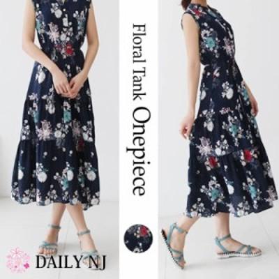 ロングワンピース 袖なし 花柄 紐付き ヘンリーネック レディース カジュアル ロング丈 重ね着 韓国ファッションww26