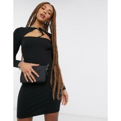 トップショップ レディース ワンピース トップス Topshop tie neck cutout mini dress in black Black