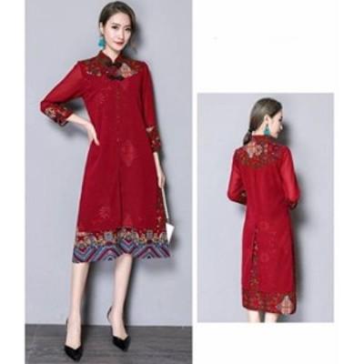 新作 棉麻素材 ロン丈 チャイナドレス風マキシワンピース 赤色