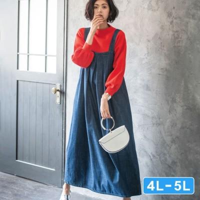 Ranan 【4L~5L】バックデザインデニムジャンスカ ブルー 5L レディース