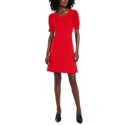 セセ ワンピース トップス レディース Puff-Sleeve Knit Dress Ribbon Red