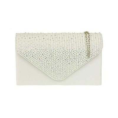 Girly Handbags Pleated Diamante Clutch Bag (Ivory)並行輸入品 送料無料