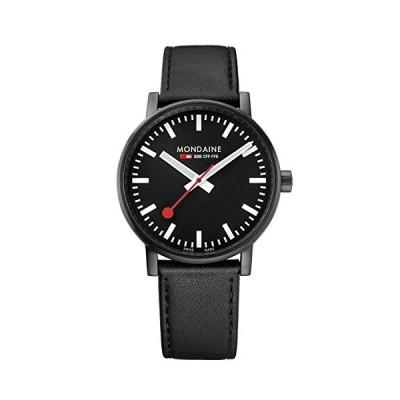 Mondaine Men's SBB Stainless Steel Swiss-Quartz Watch with Leather Calfskin Strap, Black, 20 (Model: MSE.40121.LB) 並行輸入品