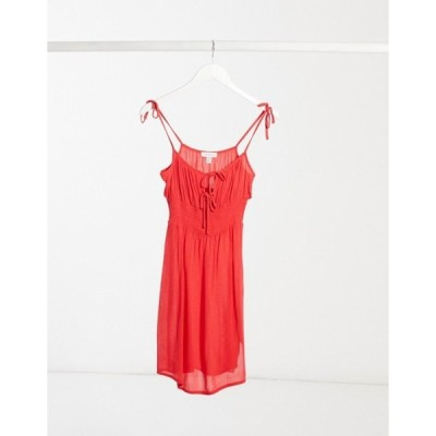 トップショップ レディース ワンピース トップス Topshop ruche front mini dress in red