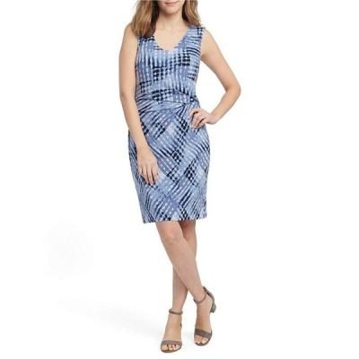 ニックアンドゾー レディース ワンピース トップス Nic + Zoe Cross Over Twist Sleeveless Geometric Print High V-Neck Dress