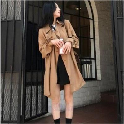 トレンチコート ロングコート アウター ゆったりサイズ 無地 スプリングコート 上着 秋 カーディガン 無地 大人 20代 30代 40代 OL