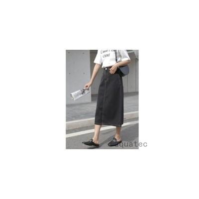 デニムスカート ロング丈 レディース スカート ストレッチ ブックスリット 体型カバー ブラック 夏 春 秋 普段着 着やすい 美しいボディライン