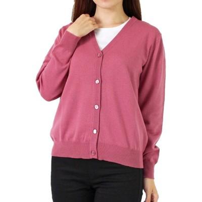 メリノウール100% Vネックカーディガン レディース ニット 洗える 18色 ピンク L