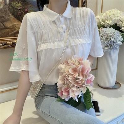 レディース 女子上着 ボタン留め 可愛い ワイシャツ シャツ トップス ブラウス 半袖 カジュアル
