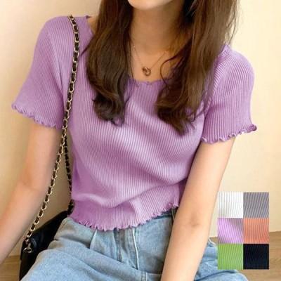 メロウリブtシャツ レディース トップス tシャツ ニットソー メロウ フリル リブ 半袖 五分袖 フリル袖 裾フリル 韓国ファッション 韓国 ファッション 無地