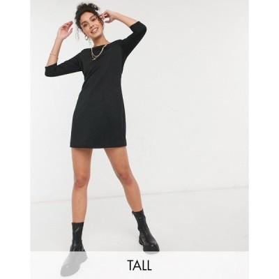 オンリー トール レディース ワンピース トップス Only Tall quilted mini dress with 3/4 sleeves in black Black