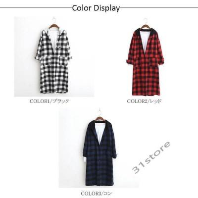 ロングカーディガンレディースギンガムチェックシャツワンピースチェックシャツ長袖大きいサイズゆったり羽織りトップス綿フード付き春