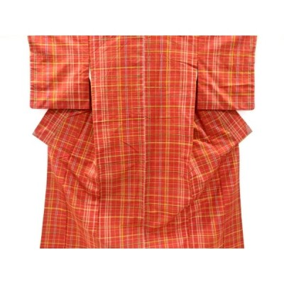 宗sou 格子模様織り出し手織り真綿紬着物【リサイクル】【着】