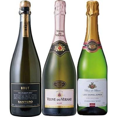 酒のダイナミック 金賞ワイン入り 世界の辛口 スパークリングワイン 飲み比べ 3本セット 750ml×3本