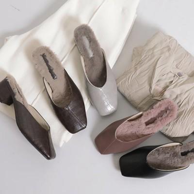 パンプス スムース クロコ スクエア ミュール シューズ 靴 ファー フェイクレザー 太ヒール I1914